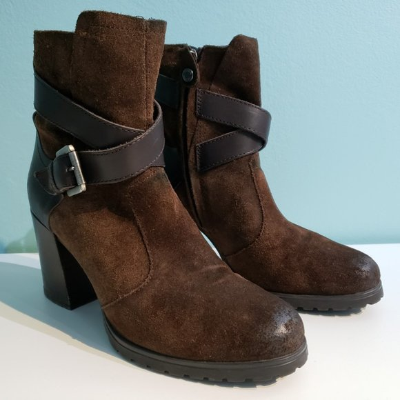 Geox NEW LISE HIGH, suede heeled ankle boot, US 6